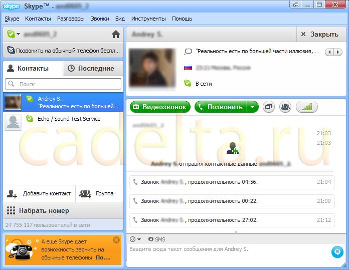 Рис. 5. Главное окно программы Skype.